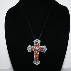 Silver rhinestone cross necklace black cord